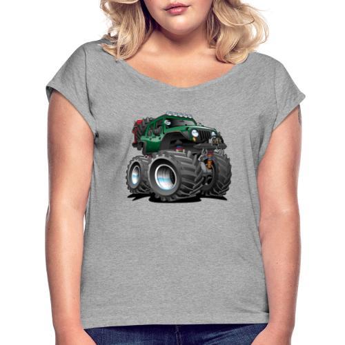 Off road 4x4 green jeeper cartoon - Women's Roll Cuff T-Shirt