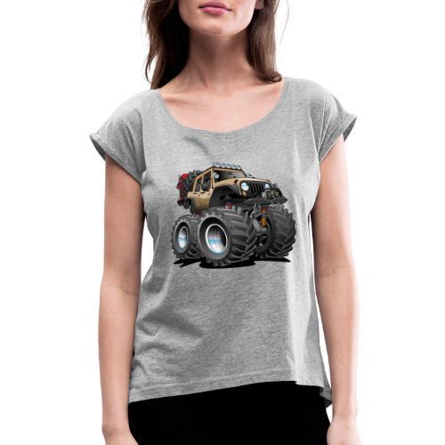 Off road 4x4 desert tan jeeper cartoon - Women's Roll Cuff T-Shirt