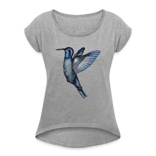 Hummingbird in flight - Women's Roll Cuff T-Shirt