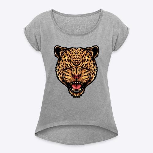 strength_and_focus_jaguar - Women's Roll Cuff T-Shirt