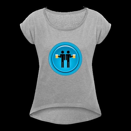 Drinking Buddies Blue - Women's Roll Cuff T-Shirt