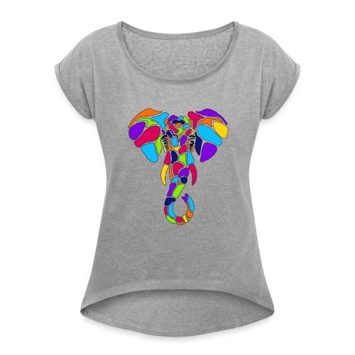 Art Deco elephant - Women's Roll Cuff T-Shirt
