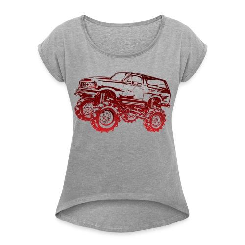 Mega Mud Ford Bronco Red - Women's Roll Cuff T-Shirt