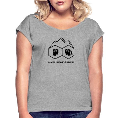 Pikes Peak Gamers Logo (Transparent Black) - Women's Roll Cuff T-Shirt
