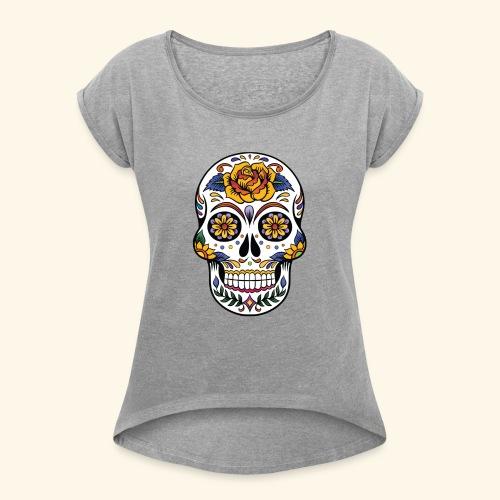 Men Women Flower Sugar Skull Shirt Day of the Dead - Women's Roll Cuff T-Shirt