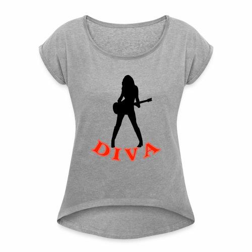 Rock Star Diva - Women's Roll Cuff T-Shirt