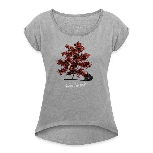 Red Tree design3PNG - Women's Roll Cuff T-Shirt