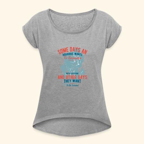 Aquarius Astrology January 20 - February 18 - Women's Roll Cuff T-Shirt