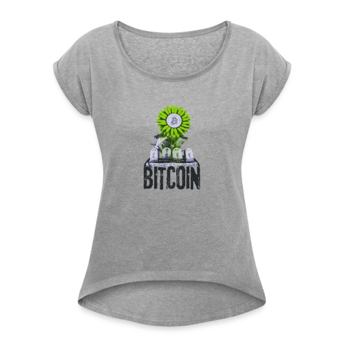 Bitcoin Banksy Street Art Tshirt - Women's Roll Cuff T-Shirt
