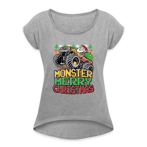 Santa Christmas Truck - Women's Roll Cuff T-Shirt