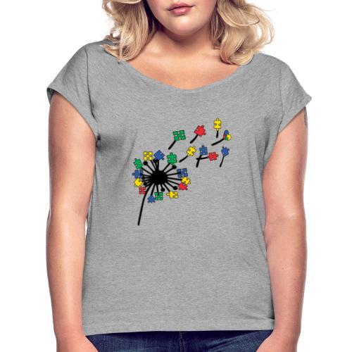 Autism Awareness Dandelion - Women's Roll Cuff T-Shirt