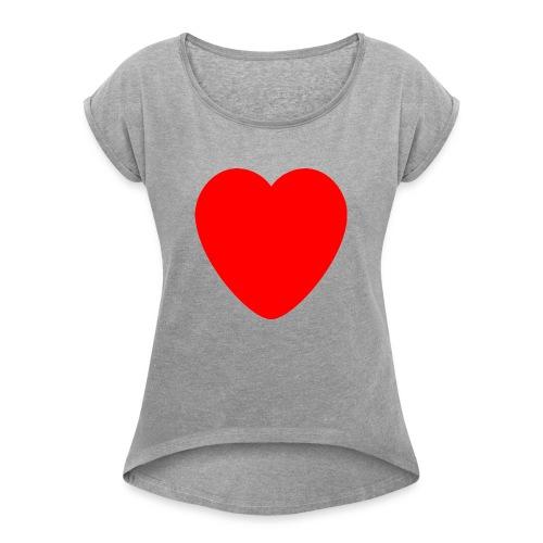 Red heart Care - Women's Roll Cuff T-Shirt