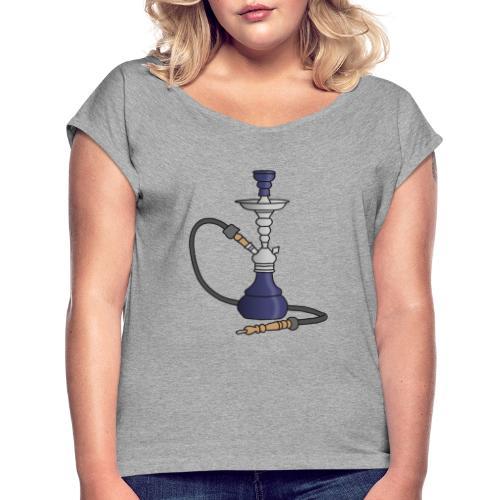 Shisha water pipe (violet) - Women's Roll Cuff T-Shirt