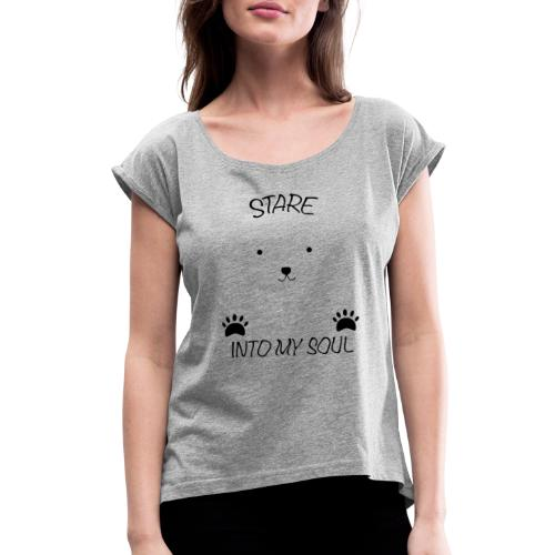 Polar Bear Stare - Women's Roll Cuff T-Shirt