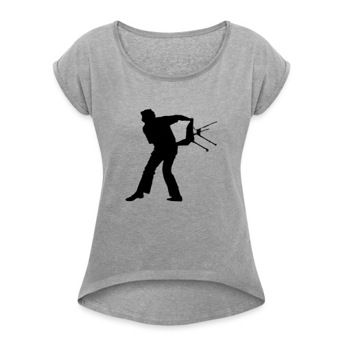 Chair Throwing Black - Women's Roll Cuff T-Shirt