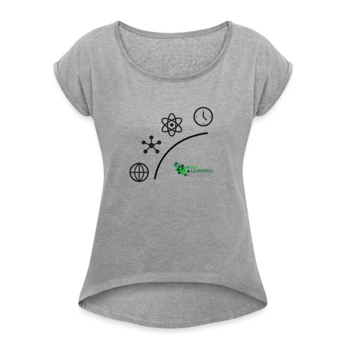 Matter Energy Space Time (Black) - Women's Roll Cuff T-Shirt