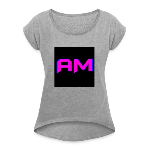 Pink, Blue, and black LOGO - Women's Roll Cuff T-Shirt