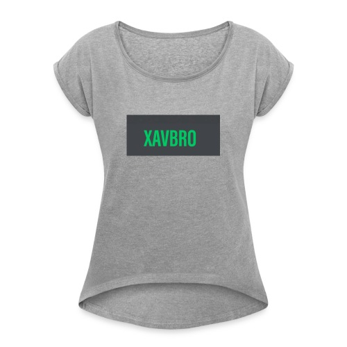 xavbro green logo - Women's Roll Cuff T-Shirt
