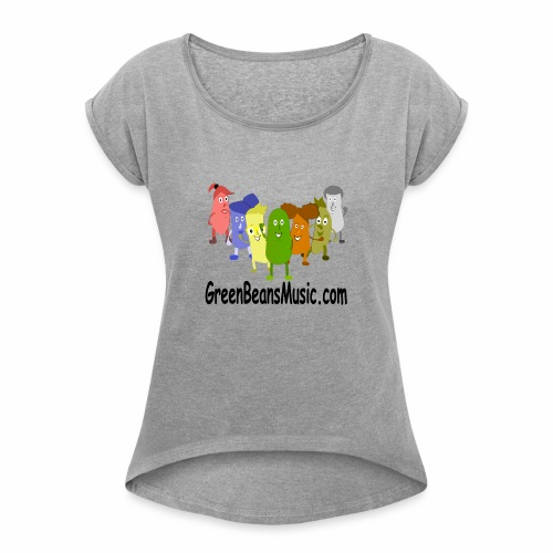 Green Bean's Music Apparel Black Logo - Women's Roll Cuff T-Shirt