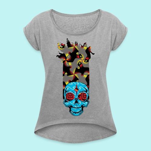 90s KID SKULLY - Women's Roll Cuff T-Shirt