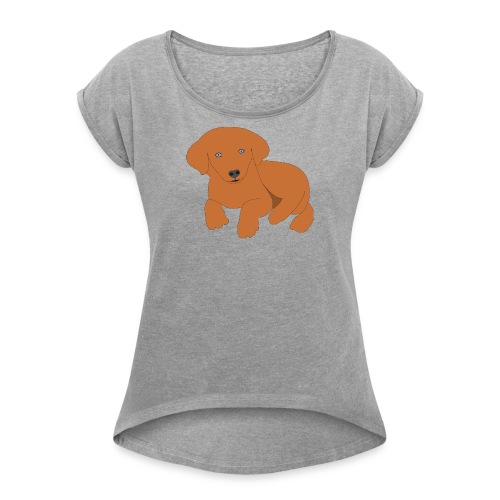 Golden retriever dog - Women's Roll Cuff T-Shirt