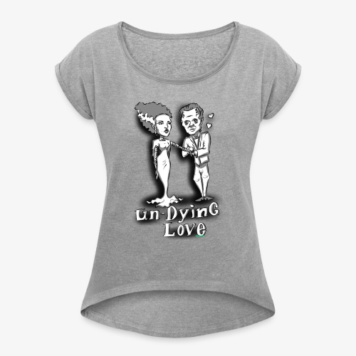 mr and mrs frank final - Women's Roll Cuff T-Shirt