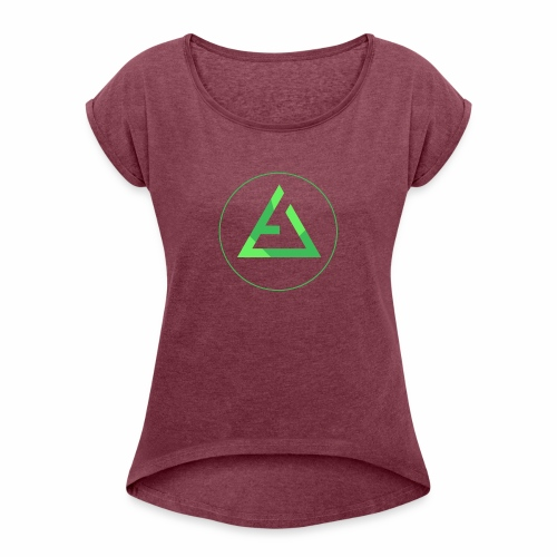 crypto logo branding - Women's Roll Cuff T-Shirt