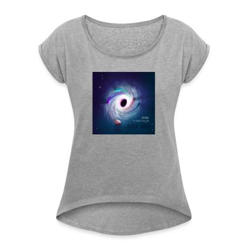 Black Hole Cover Art Design - Women's Roll Cuff T-Shirt