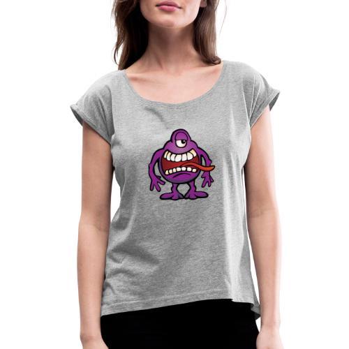 Cartoon Monster Alien - Women's Roll Cuff T-Shirt