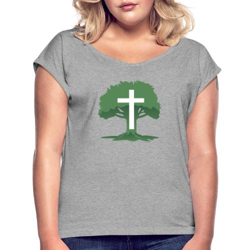 Christian Cross with Tree of Life - Women's Roll Cuff T-Shirt