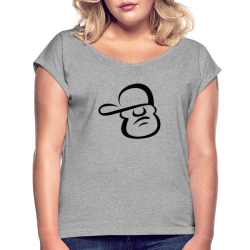 Cartoon Face - Women's Roll Cuff T-Shirt
