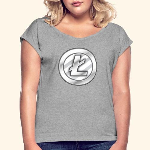 Litecoin Tee Shirt - Women's Roll Cuff T-Shirt