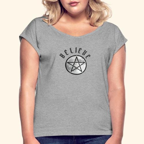 wicca moon - Women's Roll Cuff T-Shirt