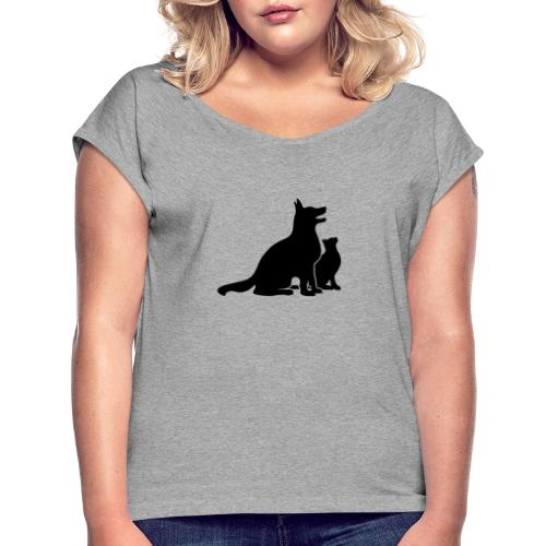 Dog and Cat Best Friends - Women's Roll Cuff T-Shirt