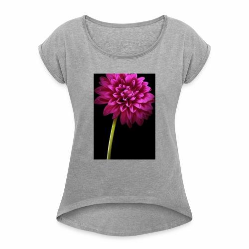 Pink Flower - Women's Roll Cuff T-Shirt