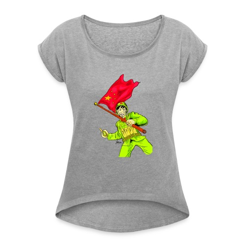 Chinese Soldier With Grenade - Women's Roll Cuff T-Shirt