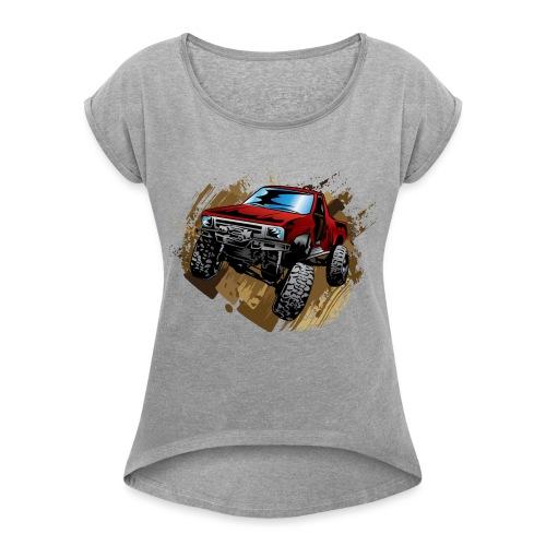 Muddy Red Truck - Women's Roll Cuff T-Shirt