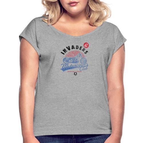 Invaders Bike Motor Cycle Club - Women's Roll Cuff T-Shirt