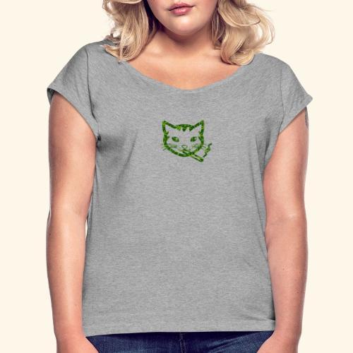 Smoking Cat Design - Women's Roll Cuff T-Shirt