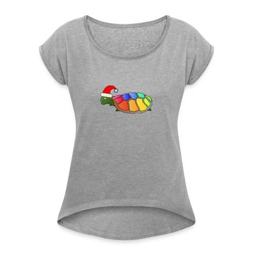 Rainbow Turtle - Women's Roll Cuff T-Shirt