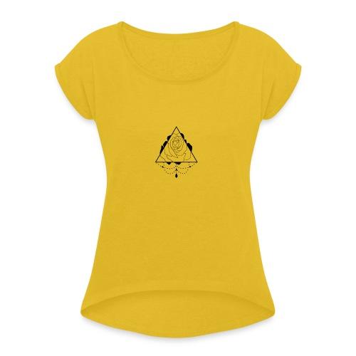 black rose - Women's Roll Cuff T-Shirt