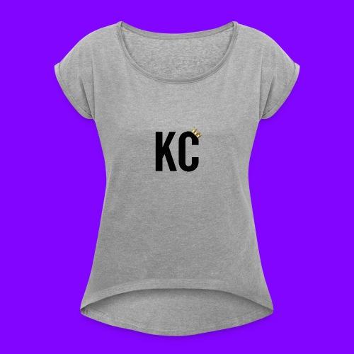 Black Font KC - Women's Roll Cuff T-Shirt