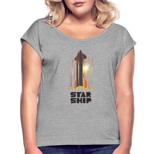 Star Ship Mars - Light - Women's Roll Cuff T-Shirt