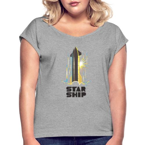 Star Ship Earth - Light - Women's Roll Cuff T-Shirt