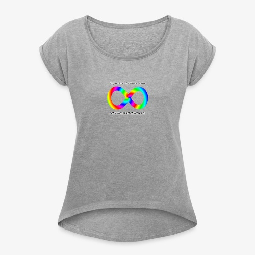 Embrace Neurodiversity with Swirl Rainbow - Women's Roll Cuff T-Shirt