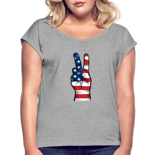 hand peace sign USA T small - Women's Roll Cuff T-Shirt