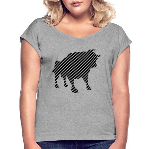 bulgebull_animal - Women's Roll Cuff T-Shirt