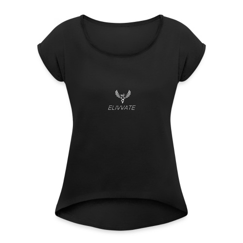 Official White Elivvate Logo - Women's Roll Cuff T-Shirt