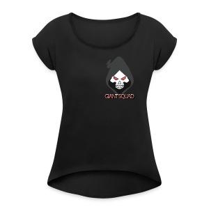 Grim text - Women's Roll Cuff T-Shirt