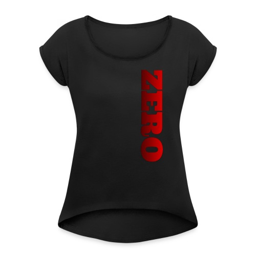RED/BLACK LOGO - Women's Roll Cuff T-Shirt